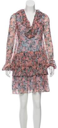 Marchesa Rose Printed Chiffon Mini Dress