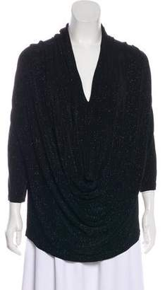 Alice + Olivia Draped-Accented Glitter Blouse
