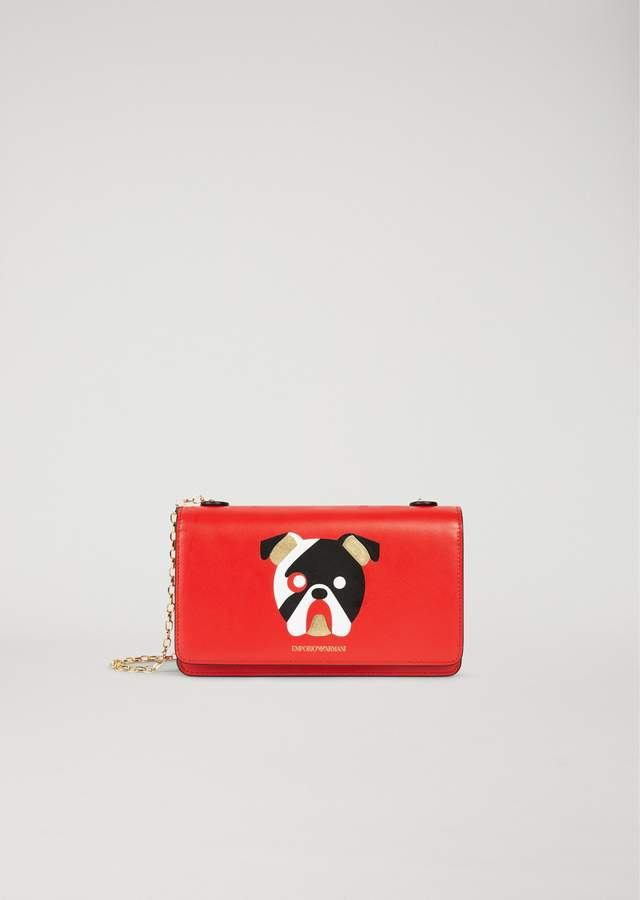 EMPORIO ARMANI wallet in printed leather with shoulder strap