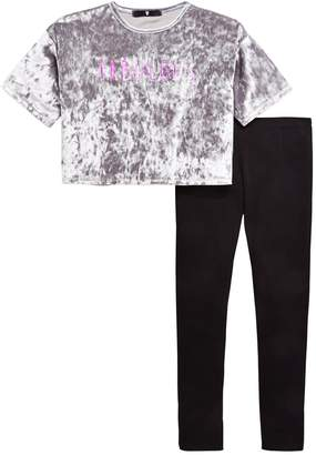 Very Girls 'Fabulous' Velour Boxy T-shirt & Legging Outfit