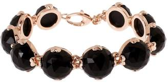 "Bronze 7-3/4"" Faceted Onyx Bracelet by Bronzo Italia"