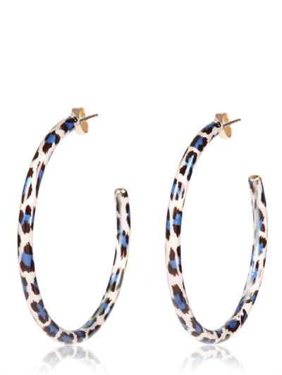 Faraone Mennella Leopard Print Enamel Hoop Earrings