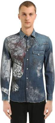 Just Cavalli Painted Cotton Denim Western Shirt