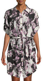 Lion-Print Silk Shirtdress
