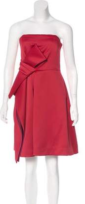 Halston Bow-Accented Strapless Dress w/ Tags
