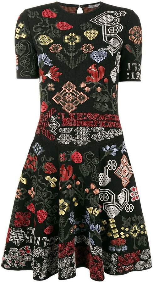 Alexander McQueen graphic floral intarsia knitted mini dress