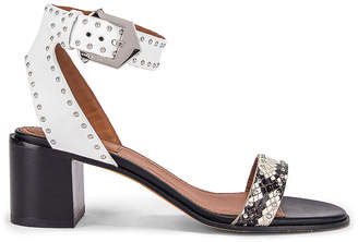 Givenchy Elegant Studs Heel Sandals in Black & White | FWRD