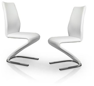Furniture of America Poulin Modern Dining Chair (Set of 2), White