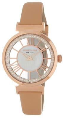 Kenneth Cole New York Women's Transparency Mother of Pearl Leather Strap Watch, 35mm