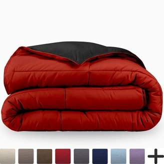 Ultrasoft Bare Home Ultra-Soft Premium 1800 Series Goose Down Alternative Reversible Comforter - Hypoallergenic - All Season - Plush Fiberfill, Twin Extra Long (King/Cal King, Black/Red)