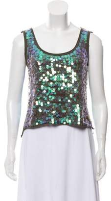 Chris Benz Sequined Scoop Neck Top Olive Sequined Scoop Neck Top