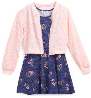 Big Girls Lace Bomber Jacket & Dress Set