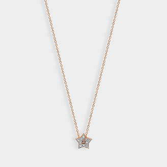 ginette_ny Milky Way Mini Diamond Open Star Necklace In 18 Carats Rose Gold And White Diamonds