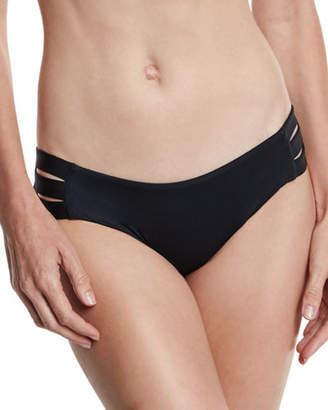 Vitamin A Emelia Solid Triple-Strap Swim Bikini Bottom, Black