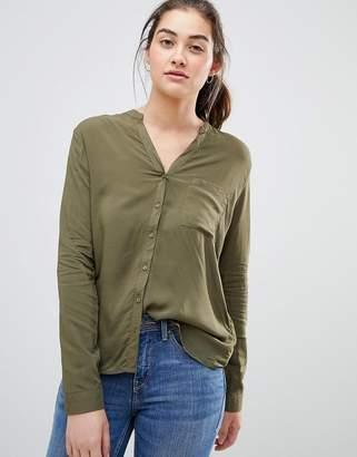 Pull&Bear v neck long sleeved shirt in Khaki