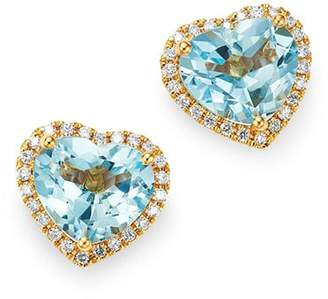 Kiki McDonough 18K Yellow Gold Grace Blue Topaz & Diamond Heart Earrings