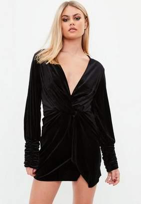 Missguided Black Velvet Wrap Front Dress, Black