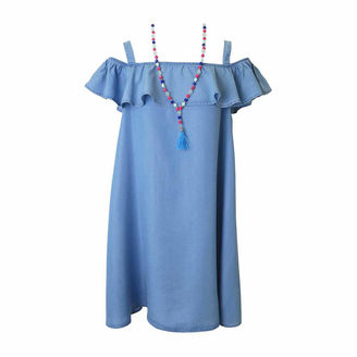 LILT Lilt Cold Shoulder Chambray Dress with Necklace - Girls' 7-16 $58 thestylecure.com