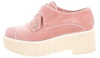 Chanel Velvet Platform Loafers