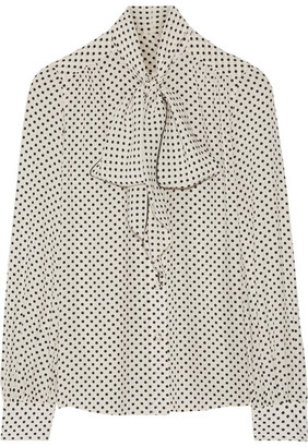 Marc Jacobs - Pussy-bow Polka-dot Silk Crepe De Chine Blouse - Off-white $395 thestylecure.com