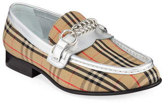 Burberry Moorley Chain Check Loafers with Metallic Piping