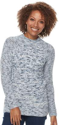 Croft & Barrow Petite Mockneck Cable Sweater