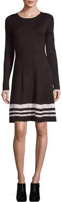 Jessica Howard Long Sleeve Stripe Fit & Flare Dress-Petite