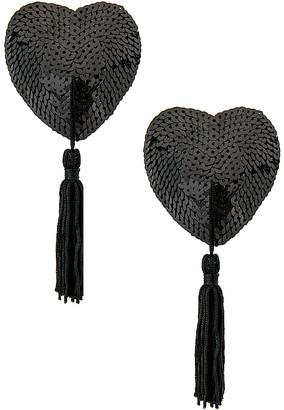 Bristols 6 Bristols6 Black Sequin Hearts With Black Tassels
