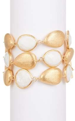 Rivka Friedman 18K Gold Clad Faceted Mother of Pearl & Pebble 3 Row Bracelet