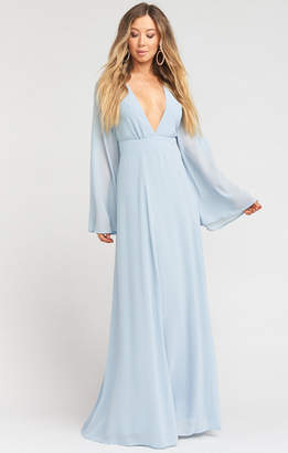 Show Me Your Mumu Venus Long Sleeve Flare Dress ~ Steel Blue Chiffon