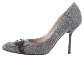 Pollini Tweed Round-Toe Pumps