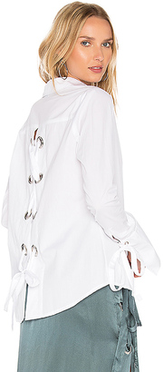 MLM Label Cairo Eyelet Button Up in White $175 thestylecure.com