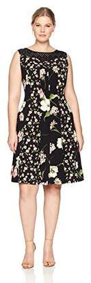 Julian Taylor Women's Plus Size Floral Printed Dress with Crochet Lace Illusion