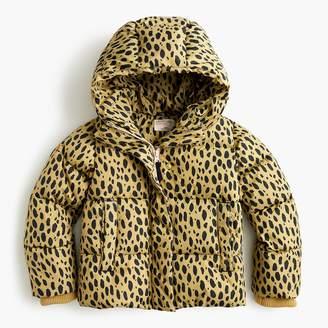 J.Crew Girls' leopard-print puffer jacket with Primaloftu0026reg;