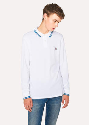 Paul Smith Men's White Zebra Long-Sleeve Polo Shirt With Petrol Tipping
