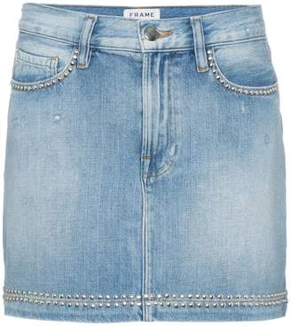 Frame blue le studded denim mini skirt