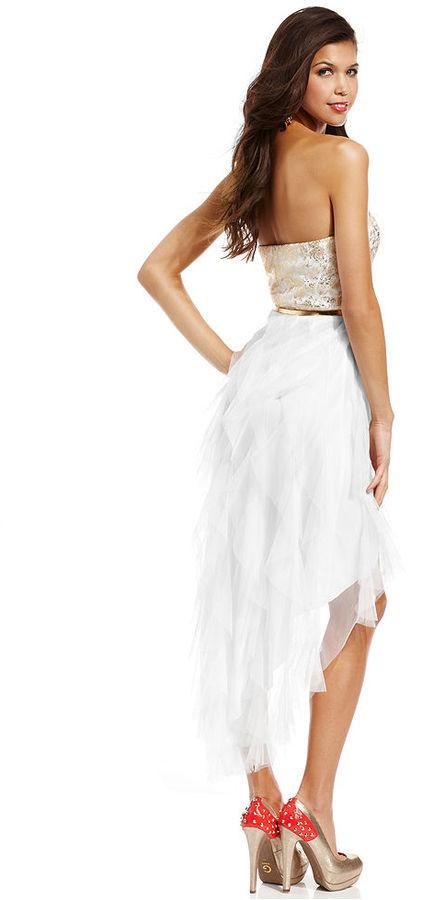 Teeze Me Juniors Dress, Strapless Metallic Tiered High-Low