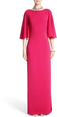St. John Embellished Stretch Cady Cape Back Gown