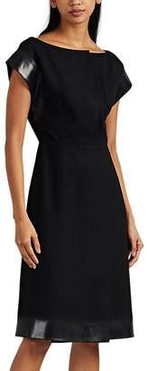 Prada Women's Waxed-Edge Wool Melton Midi-Dress