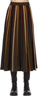 Antonio Marras Striped Fluid Wool Rib Knit Midi Skirt