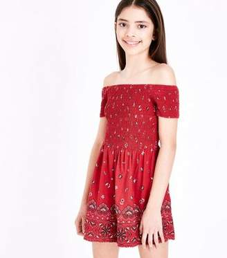 New Look Girls Red Floral Shirred Bardot Playsuit