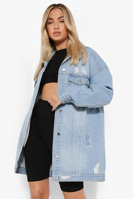 boohoo Lucy Distressed Longline Denim Jacket