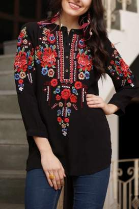 Avani del Amour Embroidered Shirt Top