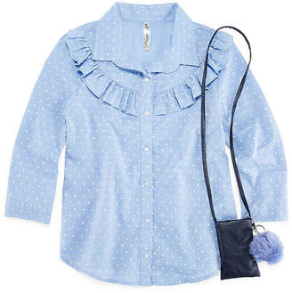 Beautees 3/4 Sleeve Button-Front Top with Purse & Keychain- Girls' 7-16