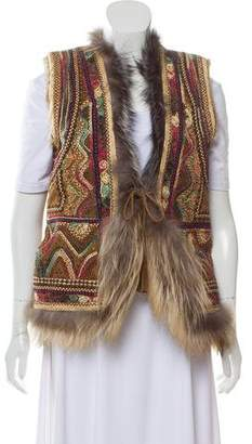 Calypso Embroidered Fur Vest