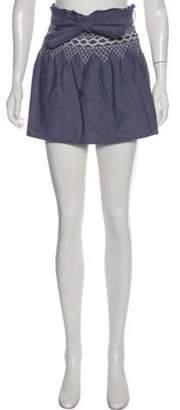 Current/Elliott Embroidered Chambray Mini Skirt blue Embroidered Chambray Mini Skirt