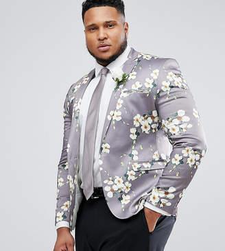 Asos Design Plus Wedding Super Skinny Blazer With Grey Floral Print