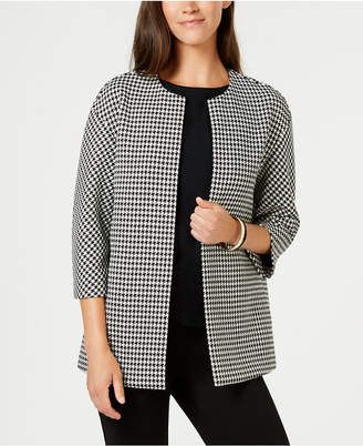 Anne Klein Collarless Bonded Houndstooth-Print Jacket, Created for Macy's