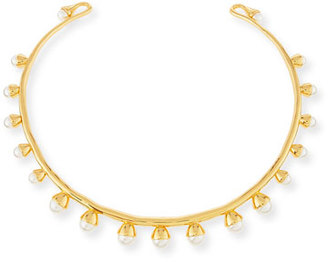 Tory Burch Pearly Bud Collar Necklace, Ivory/Gold $250 thestylecure.com