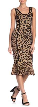 Rachel Roy Leopard Sleeveless Sweater Midi Dress
